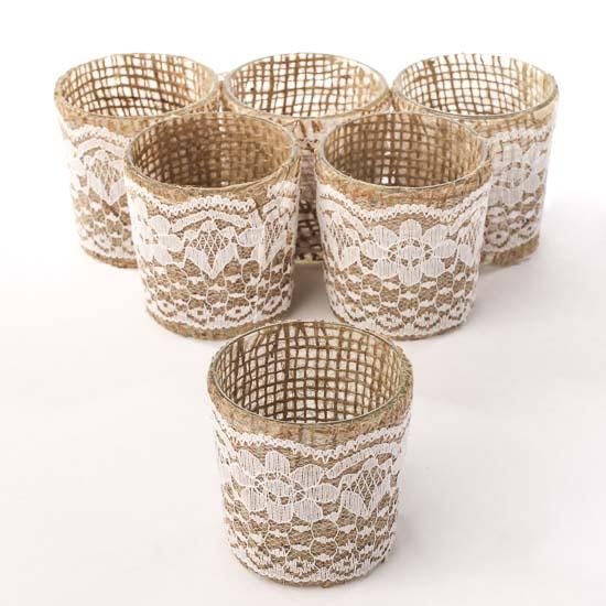 Burlap And Lace Votive Candle Holders Candles And