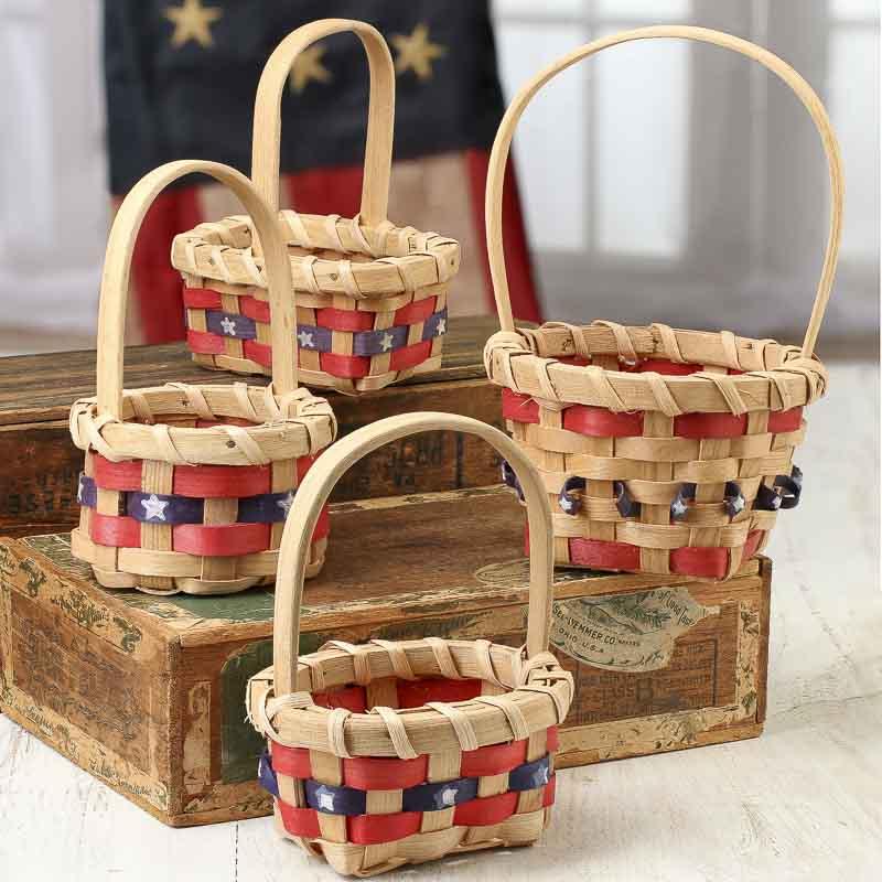 small patriotic wicker basket americana decor home decor. Black Bedroom Furniture Sets. Home Design Ideas