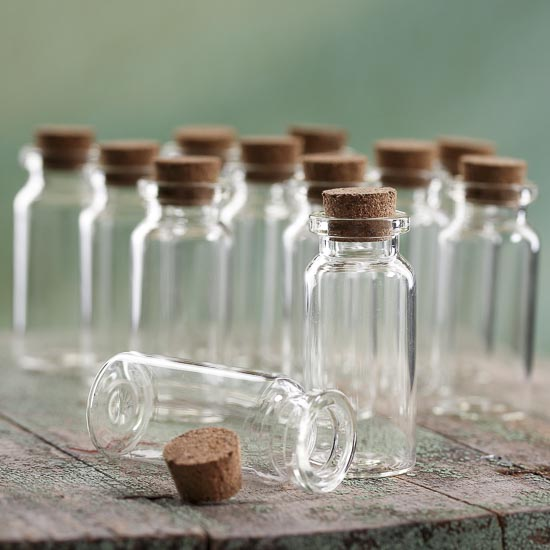 Small slender glass bottles with cork stoppers for Decorative vials
