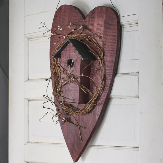 Large wooden heart and twig hanging birdhouse decorative for Wooden heart wall decor