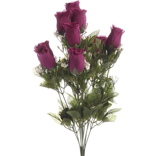 Grape Purple Artificial Rose Bud Bush Bushes Bouquets