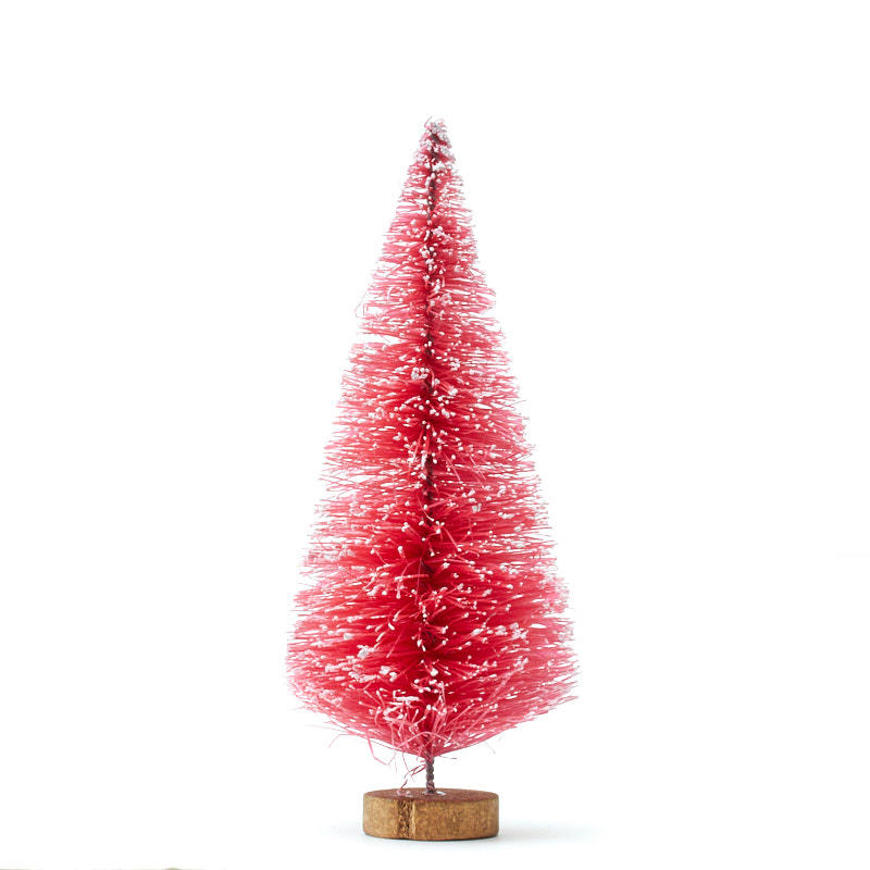 Small Frosted Pink Bottle Brush Tree Christmas