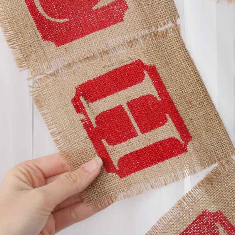 Burlap fabric merry christmas garland christmas and for Decorative burlap fabric