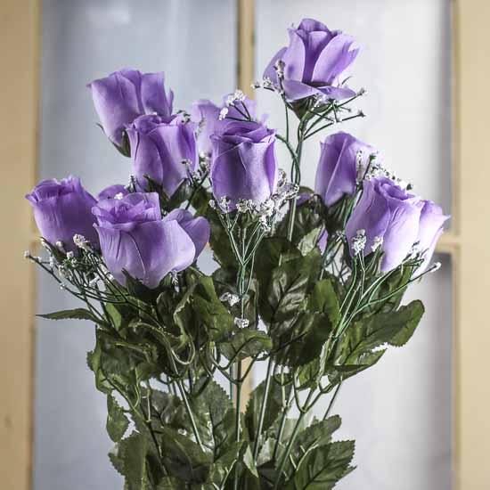 Lavender Artificial Rose Bud Bush Bushes Bouquets