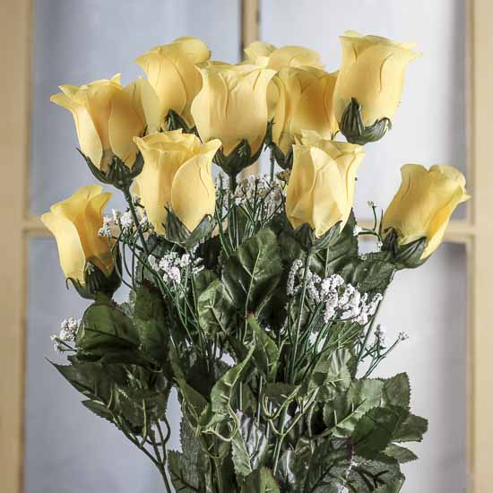 Yellow Artificial Rose Bud Bush Bushes Bouquets
