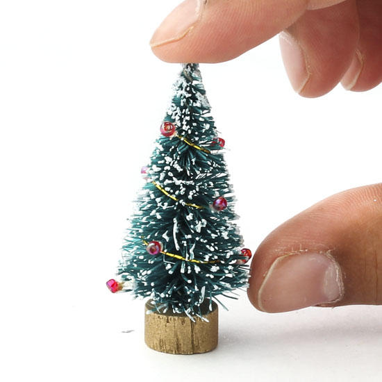 Miniature Decorated Bottle Brush Tree Christmas