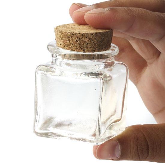 Small Glass Square Cork Jar Decorative Containers
