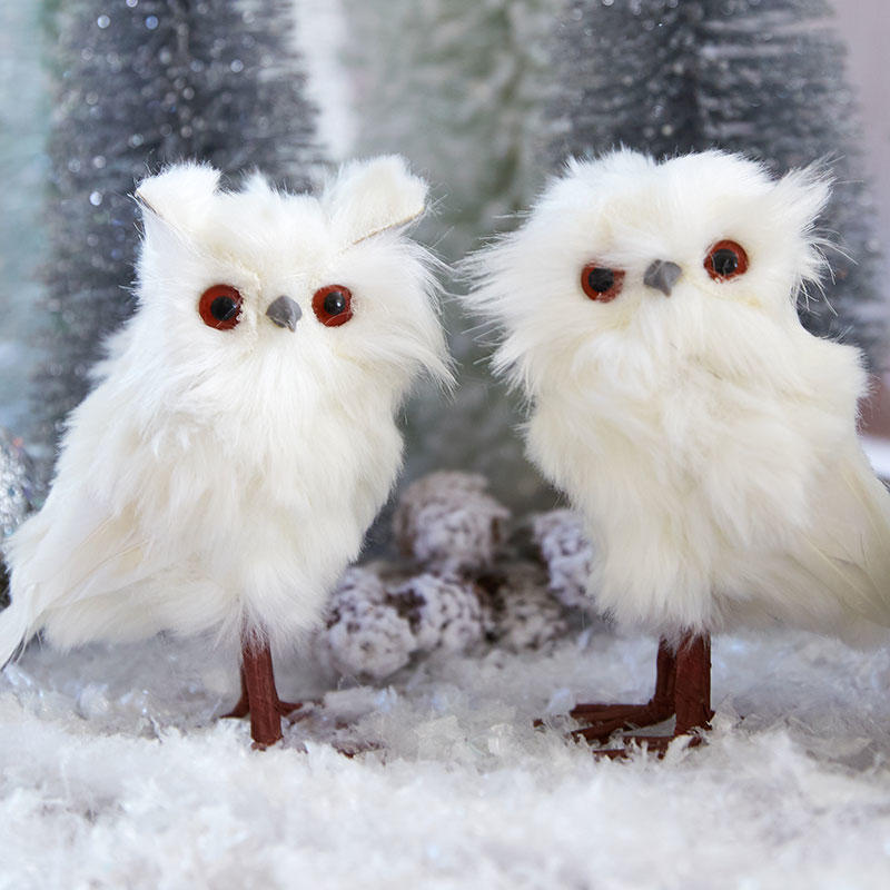 small white fluffy owl friends