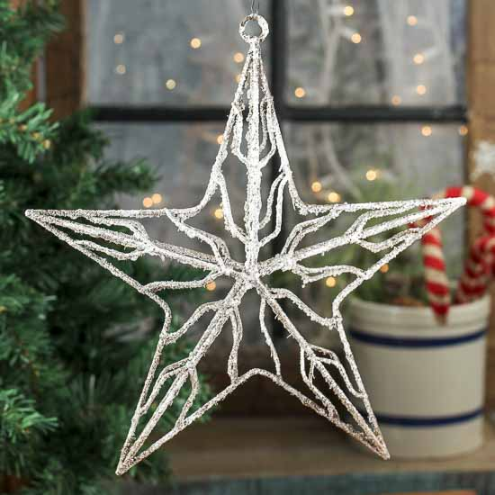 Hanging Frosted Wire Star - Wall Art - Christmas and Winter ...