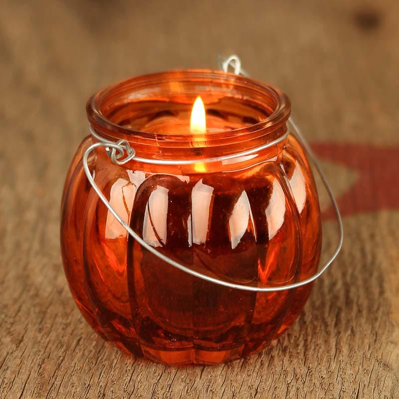 Glass Pumpkin Candle Holder