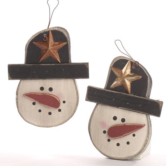 Primitive wooden snowman ornament christmas ornaments