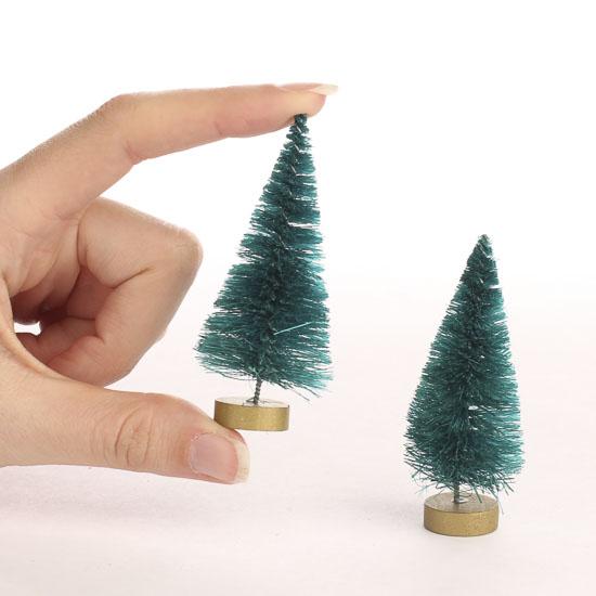 Small Green Bottle Brush Trees - Christmas Miniatures - Christmas ...