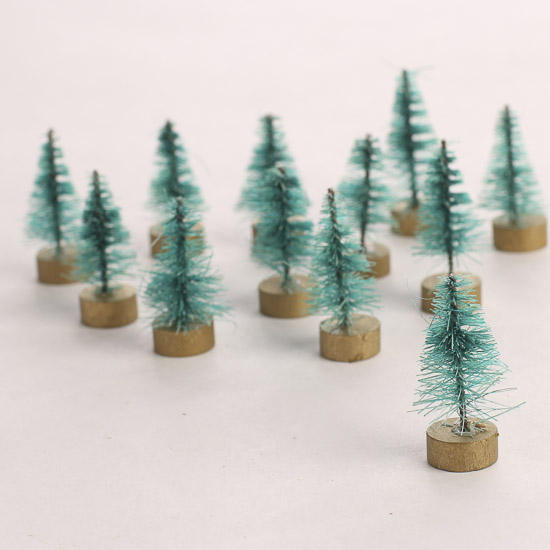 Miniature Frosted Green Bottle Brush Trees - Christmas Miniatures ...