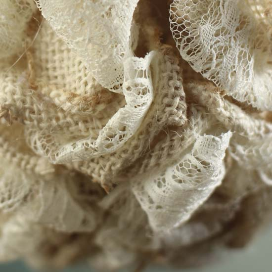 Burlap fabric and lace kissing ball decorative accents for Decorative burlap fabric