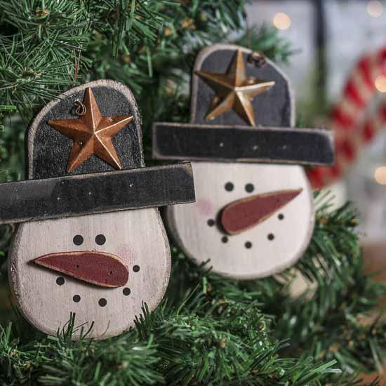 Rustic Wooden Snowman Ornament