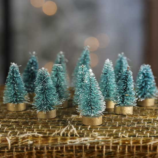 miniature frosted green bottle brush trees - Miniature Christmas Figurines