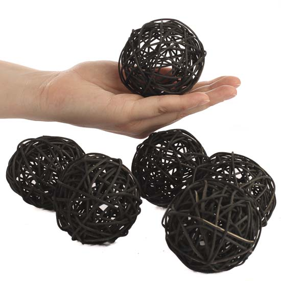 Black Decorative Balls Prepossessing Black Twig Grapevine Balls  Fixin's And Fillers  Primitive Decor Design Decoration