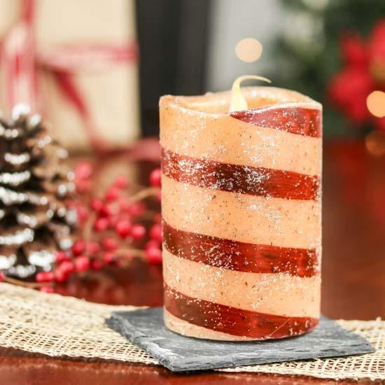 Glitter Candy Cane LED Battery-Operated Pillar Candle