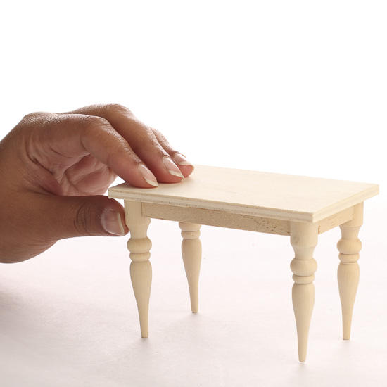 Miniature Unfinished Wood Rectangular Table