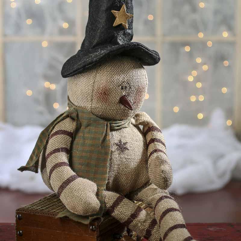 Primitive Burlap Snowman Doll