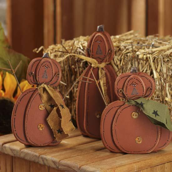 Wood cutout pumpkin figurines fall and halloween for Wood cutouts for crafts