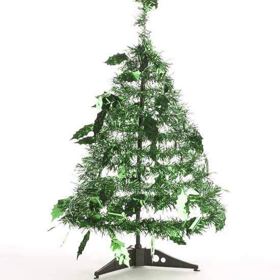 Shiny green tinsel standing garland christmas tree