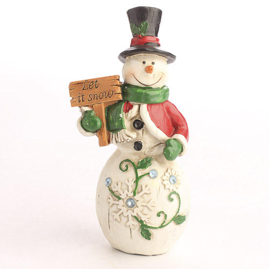 Tall Wood Let It Snow Snowman Figurine Table Decor