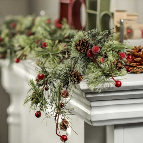 Fancy Winter Red Berry and Frosted Pine Cone Garland ...
