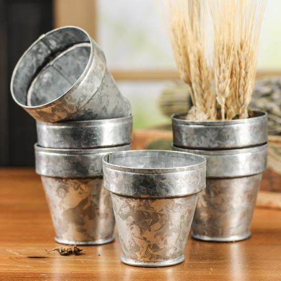 Small Galvanized Flower Pots Decorative Containers