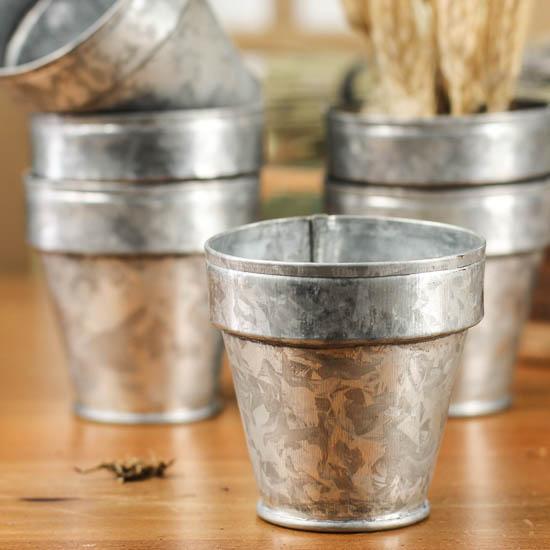 Small Galvanized Flower Pots Kitchen And Bath Home Decor