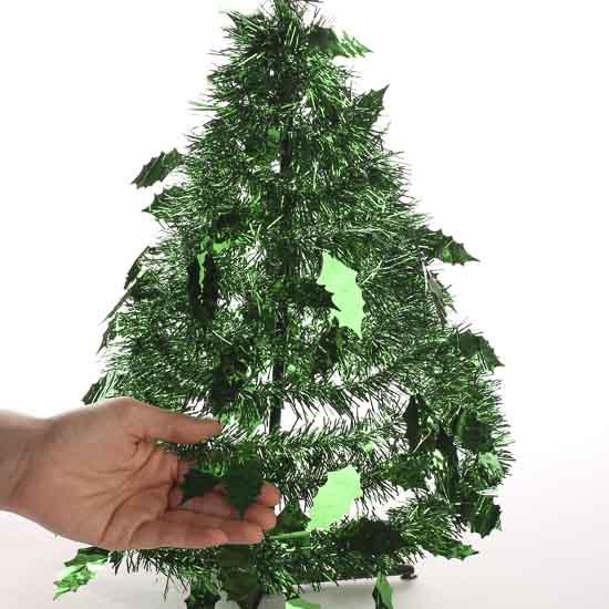 Shiny green tinsel standing garland christmas tree craft