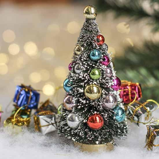 Small Frosted Bottle Brush Christmas Tree Christmas
