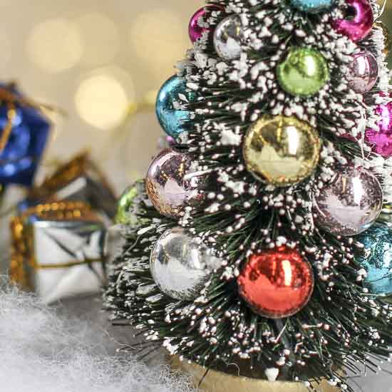 small frosted bottle brush christmas tree christmas miniatures christmas and winter holiday crafts - Miniature Christmas Tree Decorations