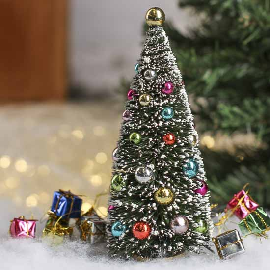 Frosted bottle brush christmas tree miniature plants for Miniature christmas trees for crafts