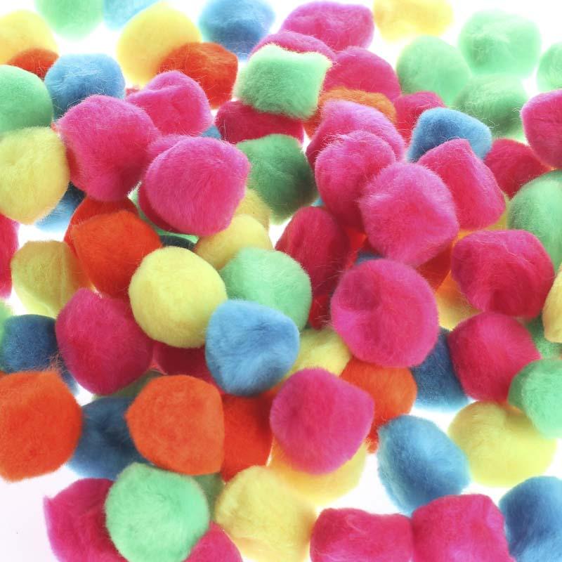 Bright multicolored craft pom poms craft pom poms kids for Pom pom crafts