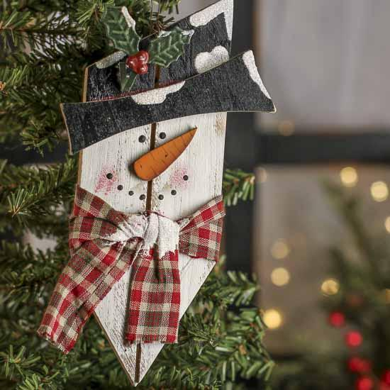Wood Plank Snowman Ornament Christmas And Winter Sale