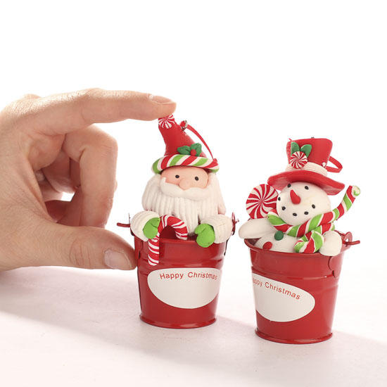 Polymer Clay Christmas Decorations.Polymer Clay Christmas Character And Pail Ornament