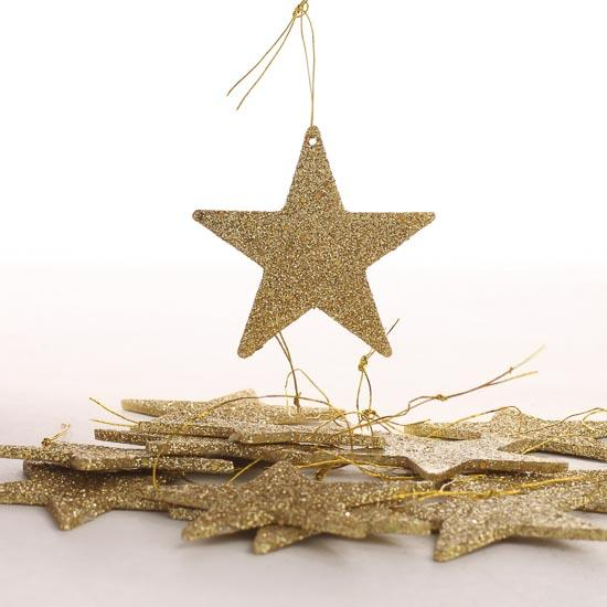 Small gold glitter star ornaments christmas ornaments for Small gold christmas ornaments