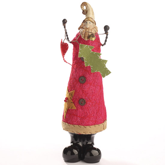 Tall primitive santa figurine table decor christmas