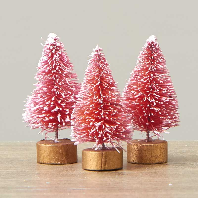 Christmas Miniatures.Miniature Frosted Pink Bottle Brush Trees