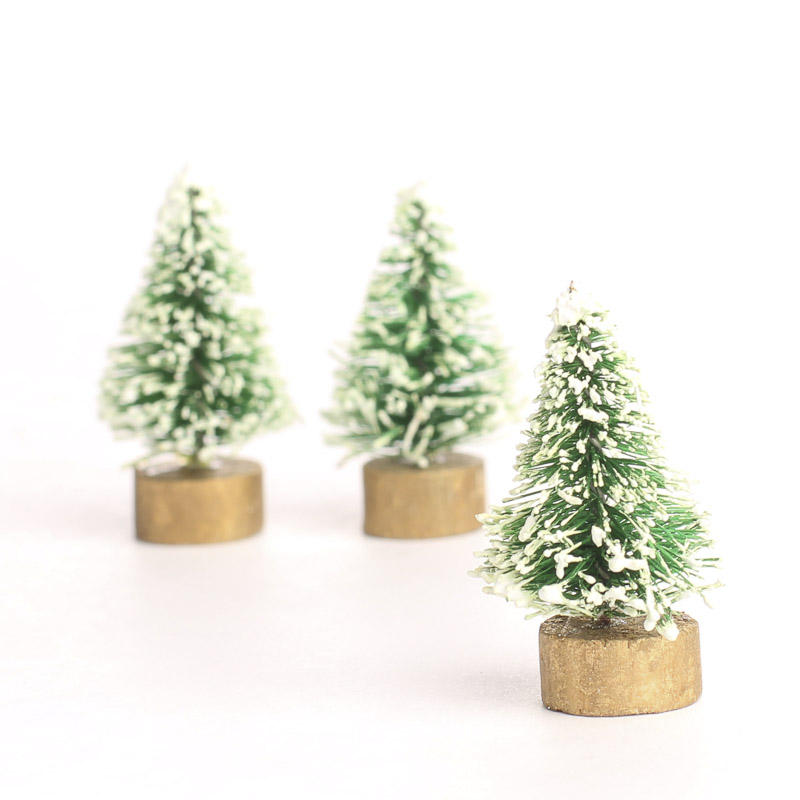 Miniature Frosted Green Bottle Brush Trees - Christmas ...