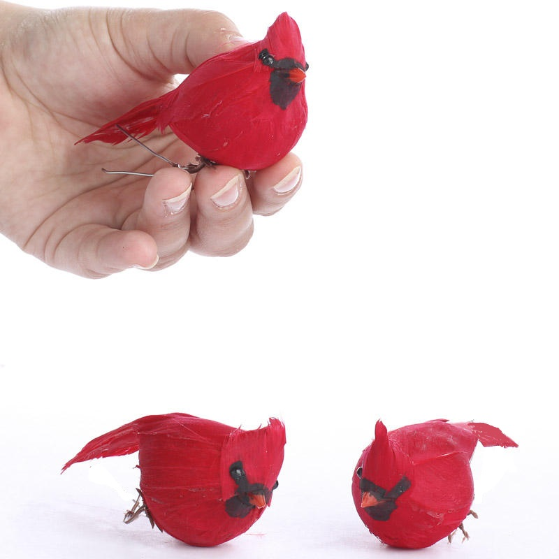 Small artificial cardinal clips birds butterflies for Fake birds for crafts