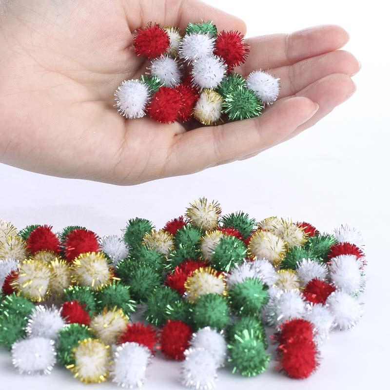 Christmas tinsel craft pom poms kids