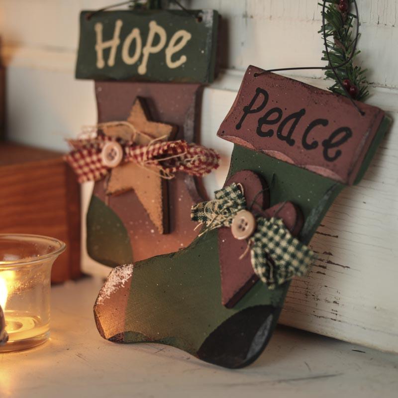 Primitive Wood Stocking Ornament