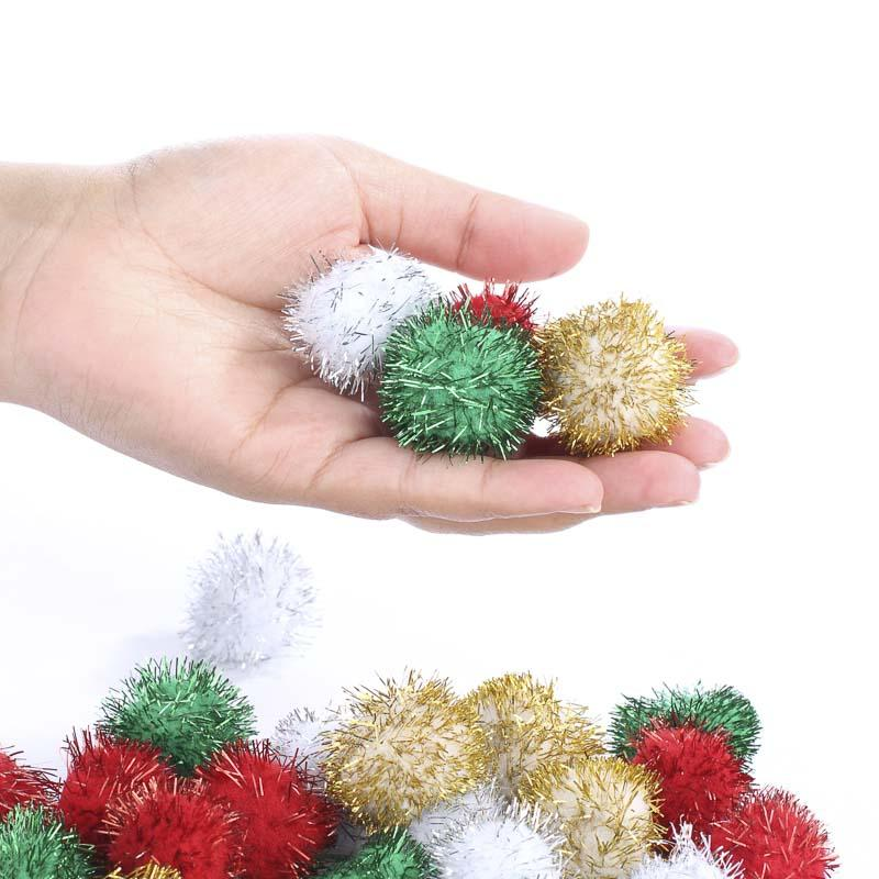 Christmas tinsel craft pom poms craft pom poms kids for Cheerleading arts and crafts