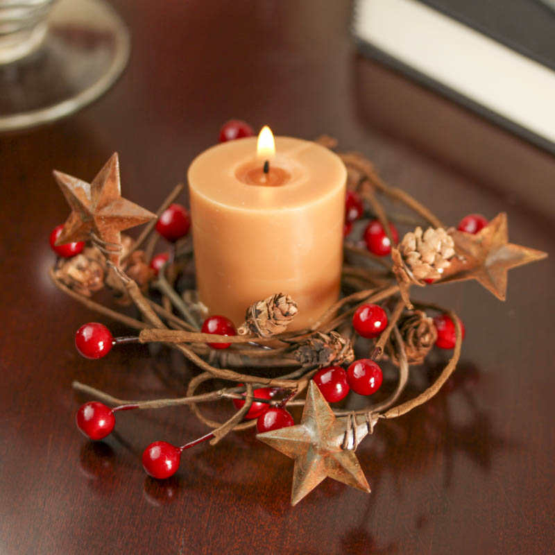 rusty tin stars and red berry candle ring holiday florals christmas and winter holiday crafts. Black Bedroom Furniture Sets. Home Design Ideas