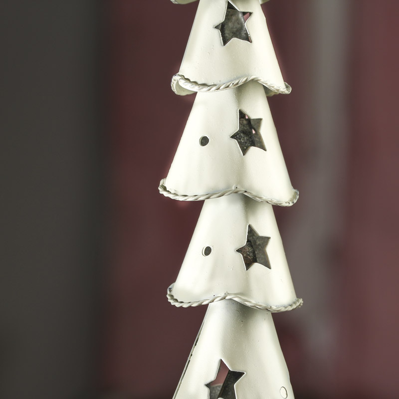 White Wash Tin Christmas Tree
