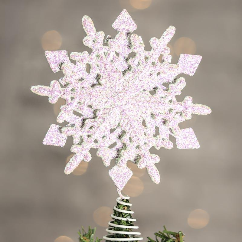 Picture Of A White Winter Wedding Table With A Tree: White Iridescent Sparkling Snowflake Tree Topper