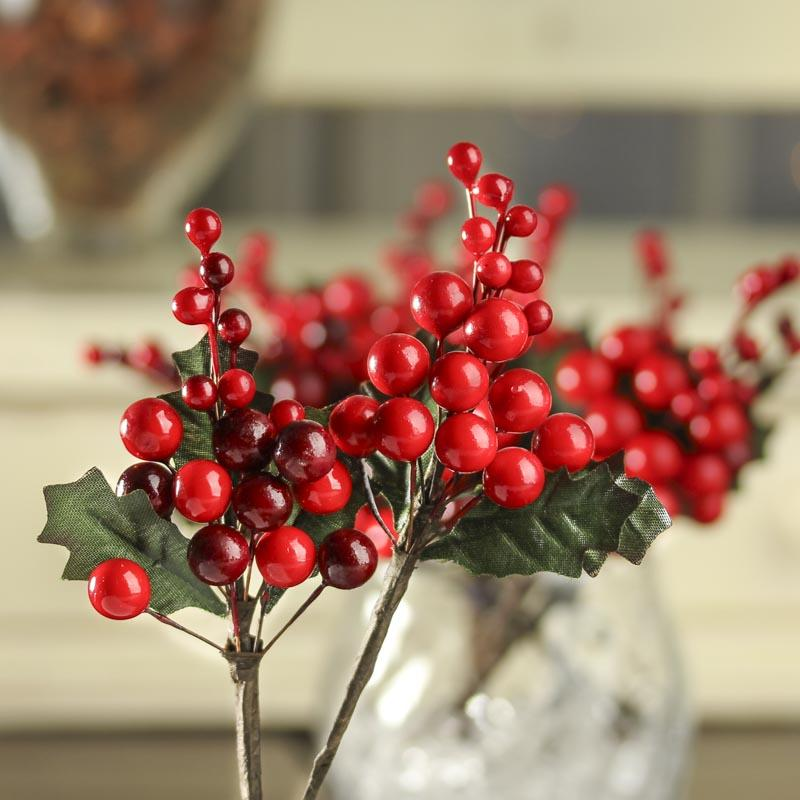 Artificial Holly Berry Picks Holiday Florals Christmas And Winter Holiday Crafts