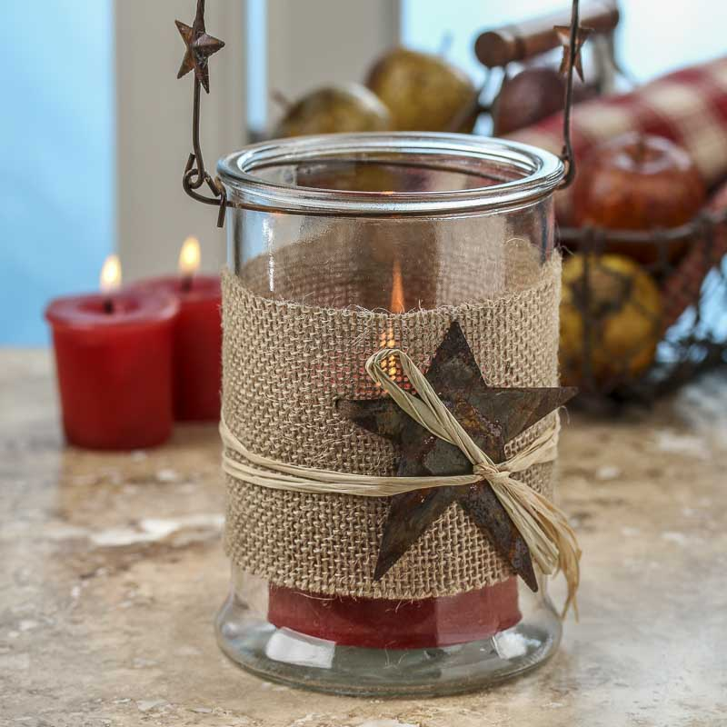 rustic hanging glass candle holder candles and